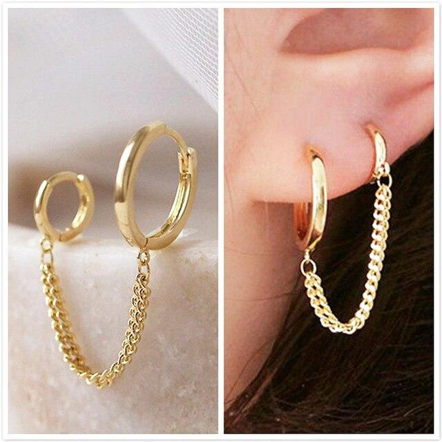 2021 Fashion Butterfly Clip Earrings Ear hook Stainless Steel Ear Clips Double pierced Earring Earrings Women Girls Jewelry 4