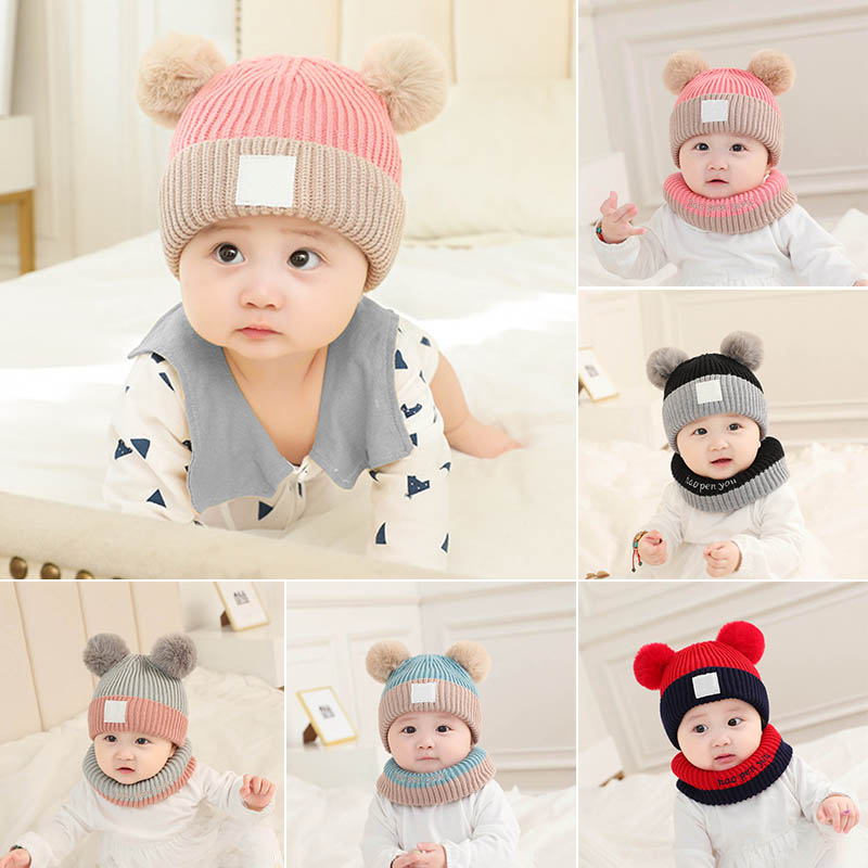 Woollen Yarn Multicolor Soft Fabric Keep Warm 3-30 Months  Baby Products 2Pcs Winter Knitted Hat Winter Cap