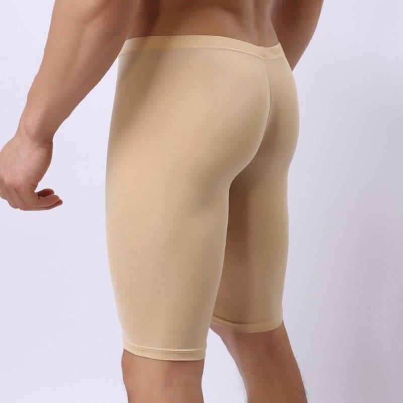 Men's Pajamas Ultra-thin Seamless Ice Silk Bugle Pouch Bottom Body Sculpting Leggings Sexy Gay See Through Nightie Sleepwear