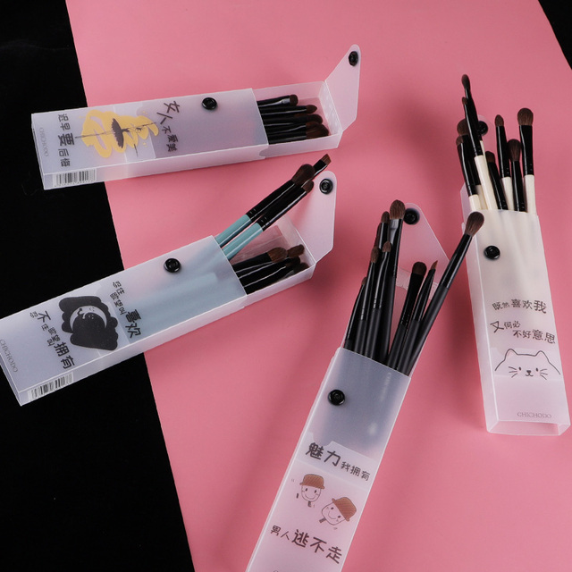 MyDestiny 9pcs professional Natural pony hair makeup brushes set-Eye Shadow&Eye brow&Nasal Shadow&Blending&Concealer&eyeliner 4