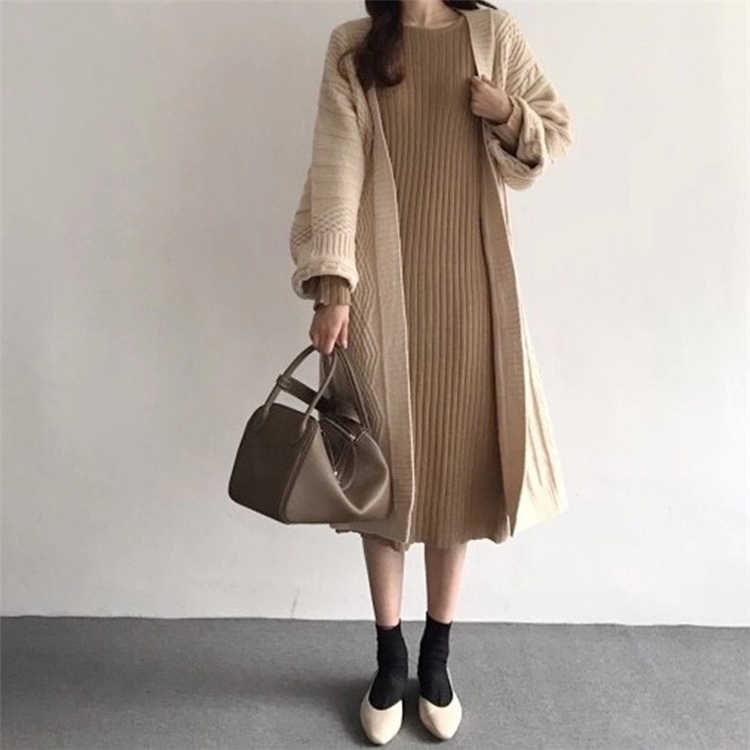 Colorfaith Neue 2019 Herbst Winter Frauen Jacken Stricken Warme Koreanische Stil Elegante Beiläufige Lange Mantel Oberbekleidung Damen JK1945