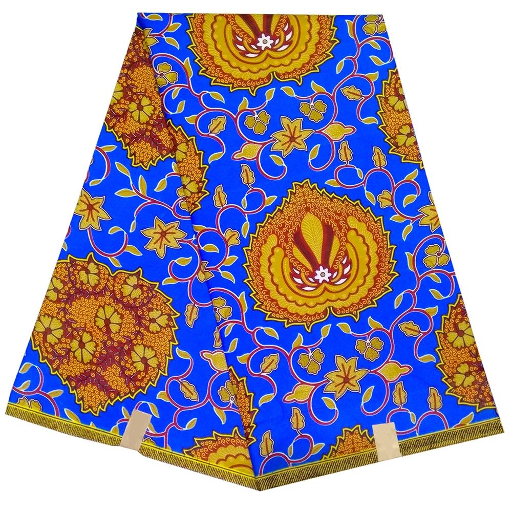 2019 Fashion African Fabric 6 Yards/Lot Flower Design African Wax Fabric