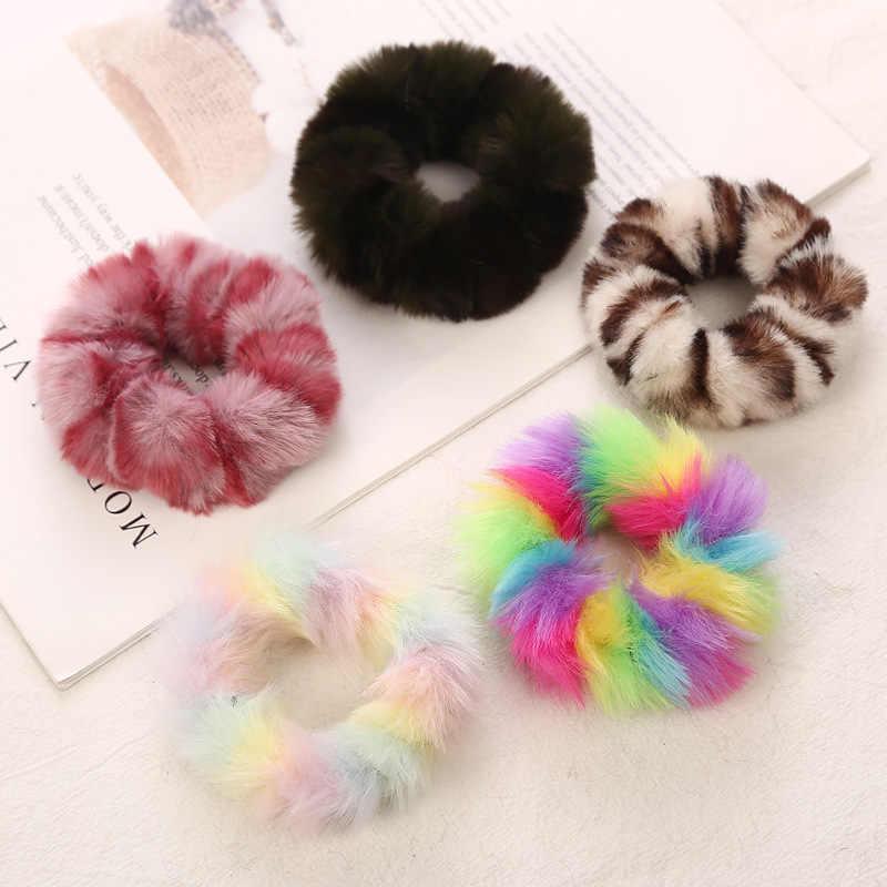 2019 nuevo invierno cálido suave piel de conejo Scrunchie mujeres niñas bandas elásticas para el pelo de felpa cuerda gomas de pelo accesorios