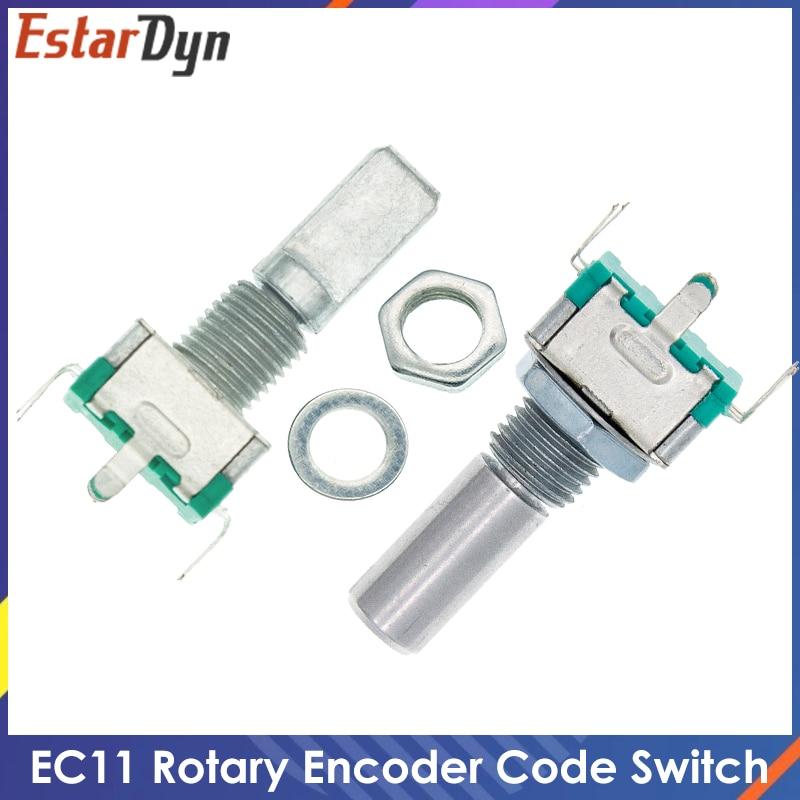 10 шт., 20-позиционный поворотный кодировщик на 360 градусов, кнопка EC11 w, 5-контактная ручка длиной 20 мм со встроенным кнопочным переключателем