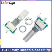 10 pces 20 posição 360 graus codificador rotativo ec11 w botão 5pin punho longo 20mm com um interruptor de botão de pressão embutido