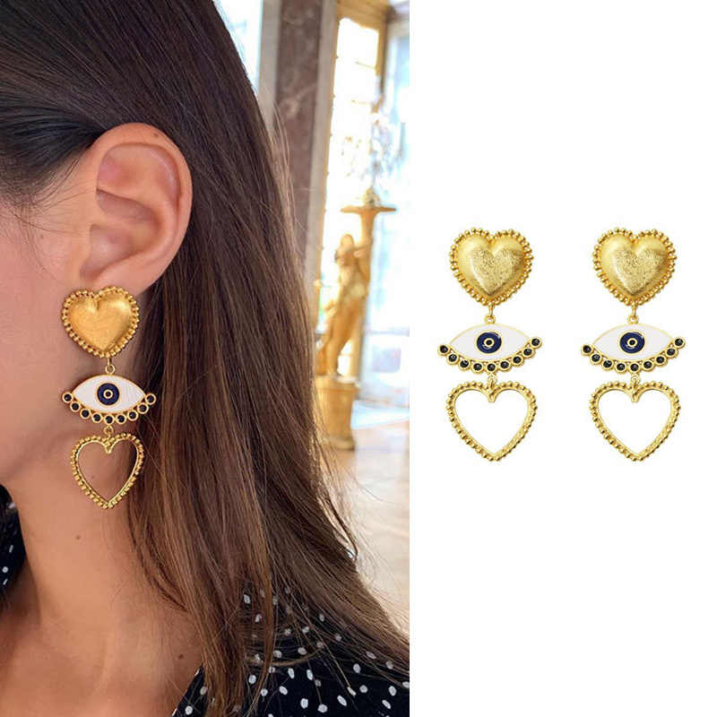 AOMU 2019 Punk Metal Gold Color Heart Earring For Women Lady Vintage Exaggerate Statement Eye Dangle Earring Ear Jewelry Set