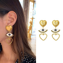 AOMU 2019 Punk Metal Gold Color Heart Earring For Women Lady Vintage Exaggerate Statement Eye Dangle Ear Jewelry Set