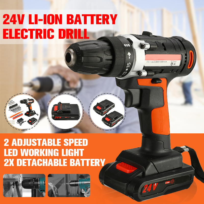 24V Electric Drill Lithium Battery DIY Mini Rechargeable Drill Double Speed Cordless Impact Socket Wrench Household Power Tools