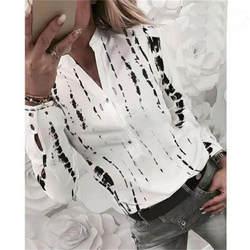 Женская Новейшая модная рубашка с принтом, женские весенне-осенние Топы со стоячим воротником, женские блузы с длинным рукавом