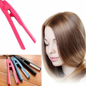 Professional Mini Portable Ceramic Flat Iron Hair Straightener Splint Non Slip Design Hair Styling Tools For Travel image