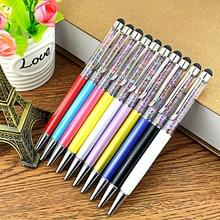 100pcs/lot 2 in 1 Colorful Diamond Crystal Metal office school ballpoint pen Touch Screen Stylus Black Blue ink Free Custom Logo