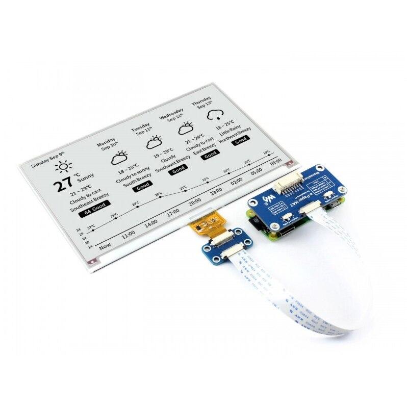 7.5inch E-Ink Display HAT 800x 480 E-paper Module Black White Two-color SPI No Backlight For Raspberry Pi 2B/3B/3B+/Zero/Zero W