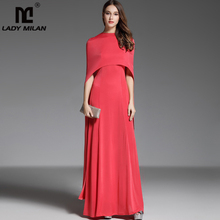 Maxi-Gown Dresses Cape-Sleeves A-Line Fashion Runway Elegant Long Women's O-Neck Party