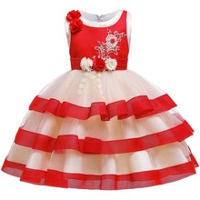 Flower Girls Dresses Illusion Sleeveless O-Neck Appliques Pearls Embroidery Knee-Length Luxury Red Kids Party Princess Gown F464