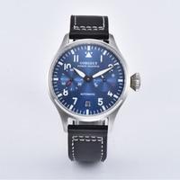 Corgeut 42 ミリメートルブルー日付窓革 Automaitc メンズ腕時計。 -