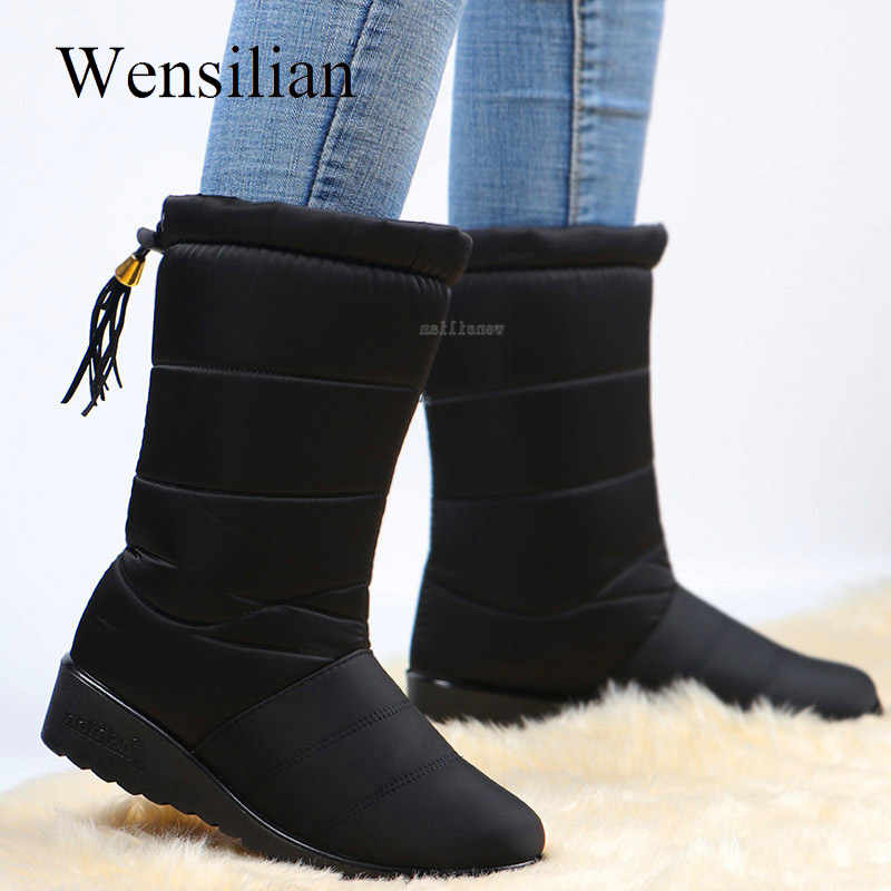 Winter Waterproof Boots Women Mid-Calf Boots Down Shoes Snow Bottes Femme Fur Plush Insole Shoes Black Botas Mujer Invierno