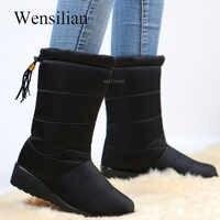 Botas impermeables de invierno para Mujer Botas de media pantorrilla zapatos de fondo de nieve zapatos de felpa de Piel de Mujer Botas negras invierno