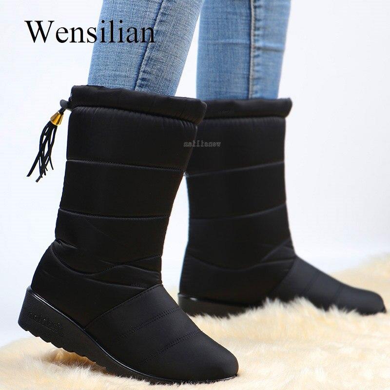 Inverno à prova dwaterproof água botas femininas meados de bezerro botas para baixo sapatos neve bottes femme pele de pelúcia palmilha sapatos preto botas mujer invierno