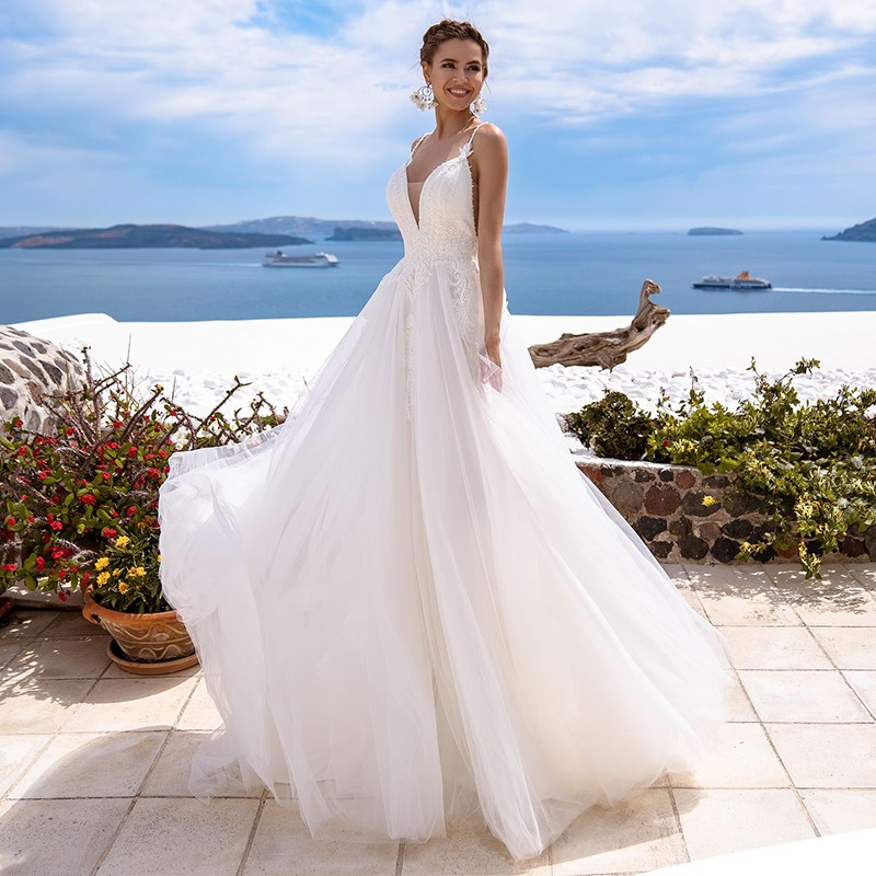 Eightale Beach Wedding Dress Simple V-Neck Appliques Spaghetti Strap Tulle Wedding Gowns Boho Bride Dress Abito Da Sposa 2020