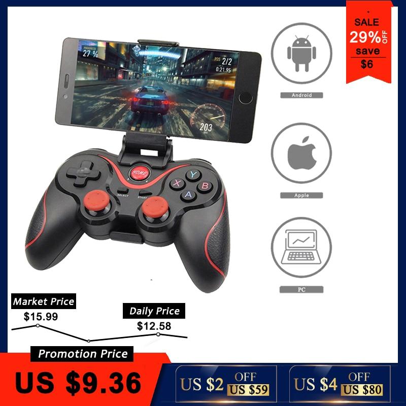 Wholesale Terios t3+ Wireless Joystick Gamepad Game Controller bluetooth BT3.0 Joystick for Mobile Phone + Tablet TV Box Holder ヒステリック ミニ 高 画質