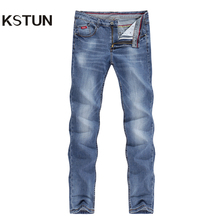 Mens Jeans 2020 Summer Thin Business Casual Straight Slim Fitness Elastic Light Blue Soft Gentleman Trousers Cowboys Jean Hombre