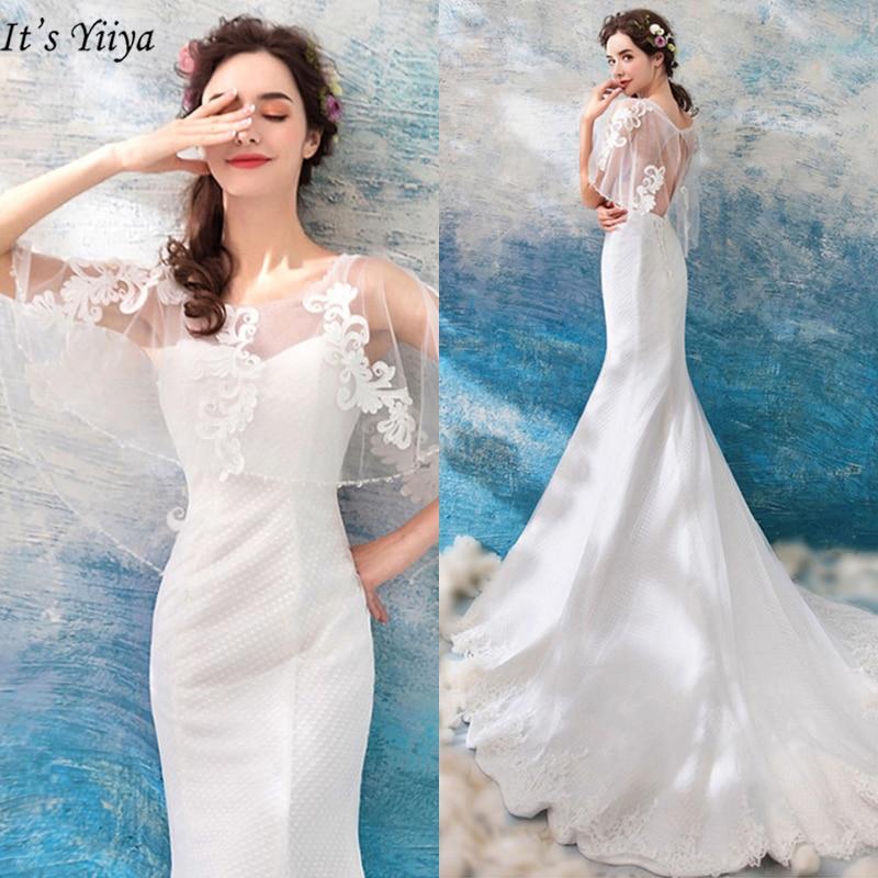 It's Yiiya   Evening     Dress   2019 Elegant O-Neck Backless Half Sleeve Women Party   Dresses   Mermaid Floor-Length Robe De Soiree LX857
