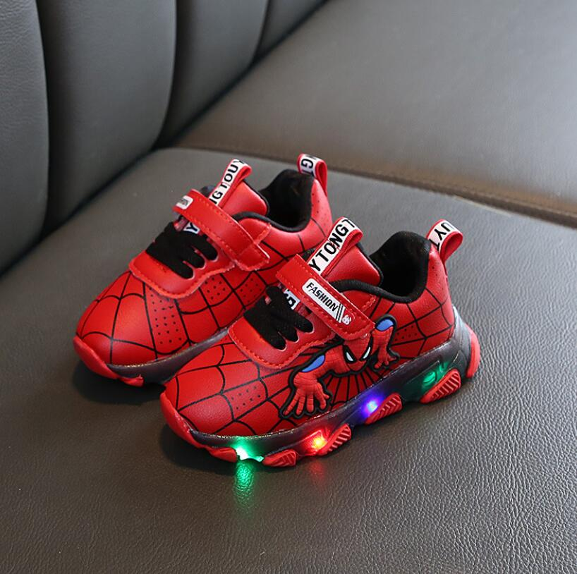 Led Luminous Spiderman Kids Shoes For Boys Girls Light Children Luminous Baby Sneakers Leather Sport Boy Girl Led Light Shoes