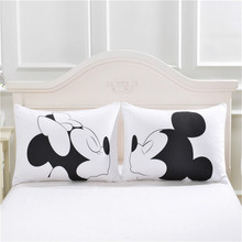 Mickey Mouse Minnie Mr Mrs Pillowcases Home Textile 2Pcs White Couple Pillow Cover Decorative Pillows Case