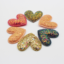 Heart Pentagram Glitter Fabric Patches Star Sequin Appliques Padded Patches for Clothes Stickers DIY Headwear Hair Clips Ornamen 2pc set black star beaded patches for clothing sequin stars rhinestone appliques beads parche diy handmade clothes accessories