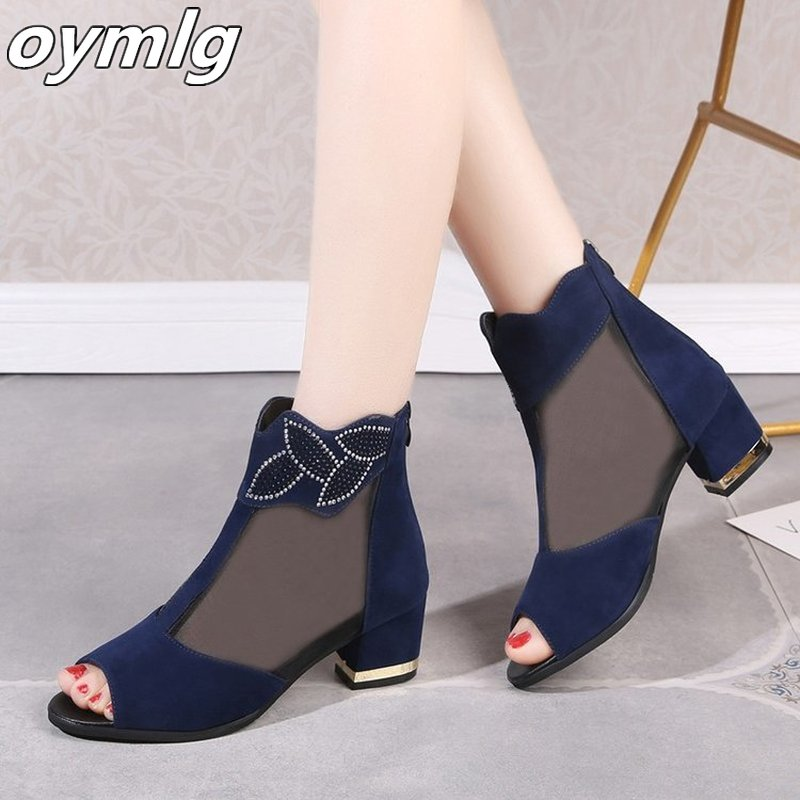 Elegant Ladies Black Air Mesh High Square Heel Sandals Summer 2020 Sexy Peep Toe Crystal Floral Black Pumps Shoes Woman