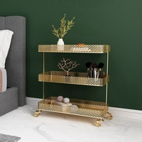 Nordic Wrought Iron Rack Carts with Wheels Floor standing Living Room Bedroom Bedside Multi layer Storage Roller Rack Removable