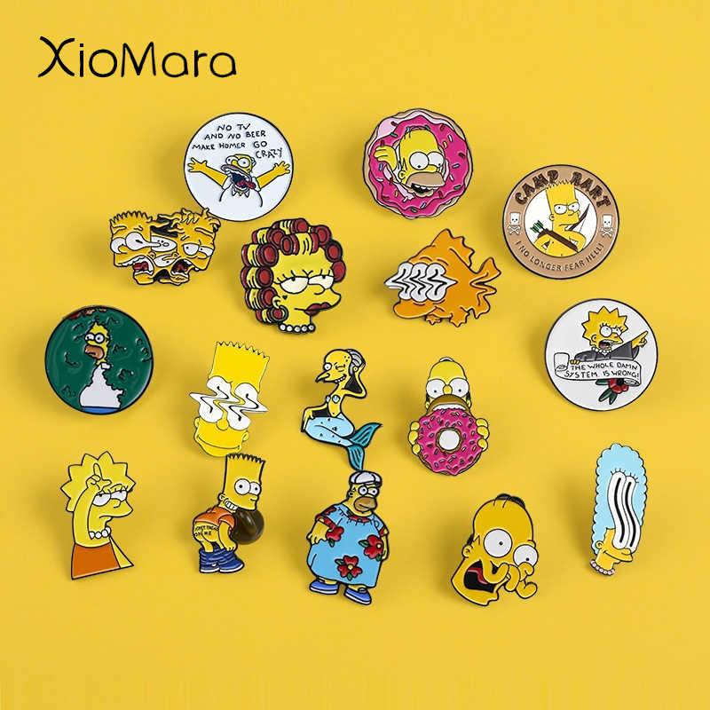 12 Gaya Simpsons Enamel Lisa Homer Jay Marge Kirk Acara TV Karakter Kartun Nternet Meme Bros Lucu Enamel untuk Para Penggemar