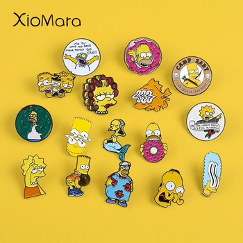 12 Styles Cartoon Enamel Pins Lisa Homer Jay Marge Kirk TV show Cartoon character nternet meme brooch cute Enamel pins For Fans image