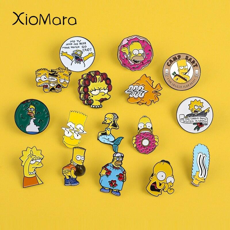 12 Styles Simpsons Enamel Pins Lisa Homer Jay Marge Kirk TV show Cartoon character nternet meme brooch cute pins For Fans