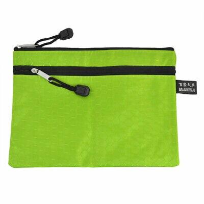 Green Nylon Hexagon Pattern Zipper Closure A5 Paper Document Files Holder Bag