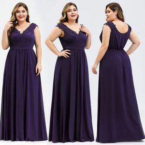 Image 3 - Elegant Evening Dresses Plus Size A Line V Neck Appliques Sleeveless Ruched Chiffon Formal Evening Party Gowns Robe Longue 2020
