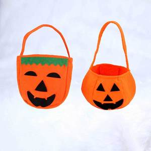 Pumpkin carrier bag candy bag Halloween gift bag pumpkin mesh Halloween supplies