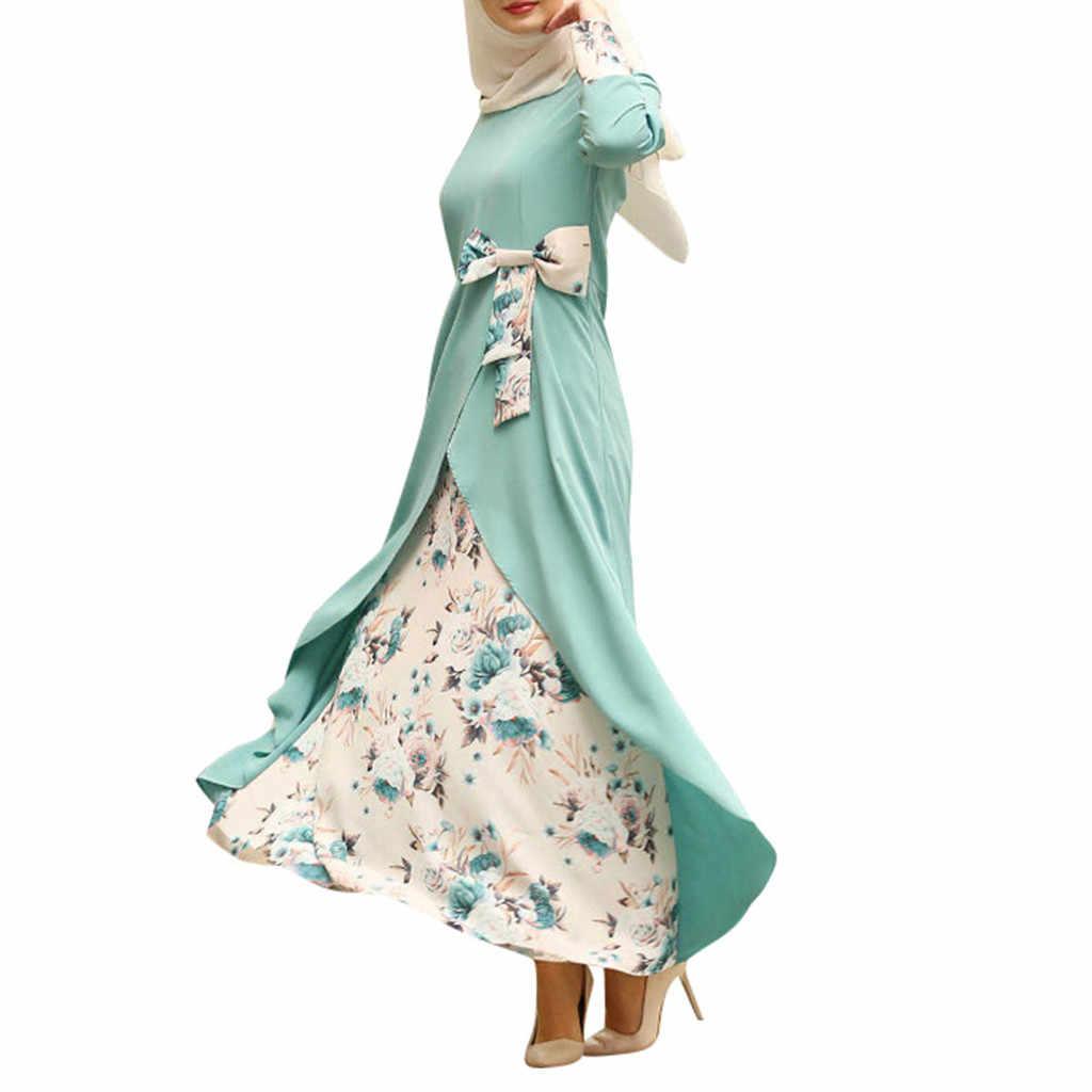 KLV قفطان رداء دبي الإسلام الأزهار طويلة الأكمام الحجاب مسلم ماكسي فساتين قطر عمان عبايات للنساء الملابس الإسلامية التركية