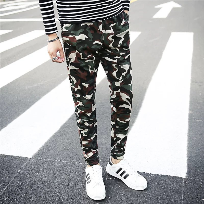 MEN'S Casual Pants 2018 Spring And Summer Camouflage Clothing Camouflage Pants Skinny Ankle Banded Pants Men's Capri Trousers