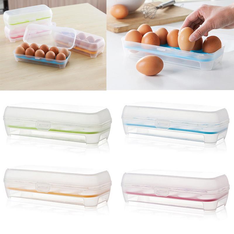 1pc 10 Eggs Tray Thicken Plastic Transparent Eggs Storage Container Egg Holder For Home Refrigerator Kitchen Egg Crisper
