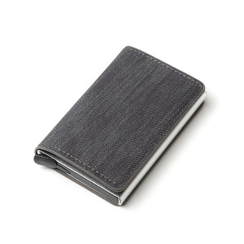 2020 Credit Card Holder Denim RFID Blocking Men Wallet Purse Business ID Card Holder Anti Theft Alunminum Box