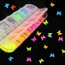 12 Grid Fluorescent Mixed Color Glitter Flakes Butterfly Star Heart Sequins Epoxy Resin Glitter Clay Filling Nail Art Making DIY