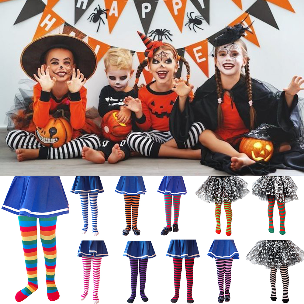 Halloween Candy Stripe Color Mixed Tights For Baby Girl Stretch Trouser Skinny Pants Kids Dance Tights Pantyhose Stocking D40