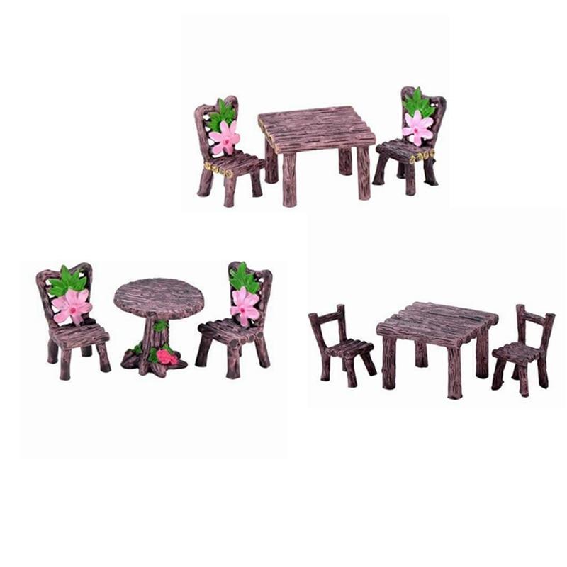 Ensemble de Table et chaises miniatures, ornements de jardin féeriques, bricolage maison de poupée, décor Floral, chaise de Table, paysage pour Succulent, 9 pièces