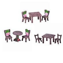 9 peças em miniatura mesa e cadeiras conjunto de fadas jardim ornamentos diy decoração da casa de bonecas cadeira de mesa floral paisagem para suculenta
