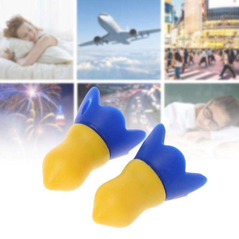 1 Pair Silicone Flight Earplugs Noise Cancelling Reusable Ear Plugs For Airplanes Hearing Protection