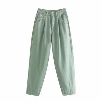 catonATOZ 2248 Khaki Female Cargo Pants High Waist Harem Loose Jeans Plus Size Trousers Woman Casual Streetwear Mom Jeans 8