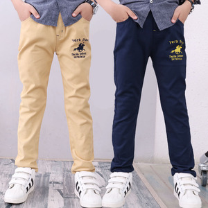 Image 4 - 4 12T ชายกางเกงสบายๆ 100% ฝ้ายตรงกางเกงสำหรับชายสีขาวเด็กกางเกงเด็ก 110  150 คุณภาพสูง