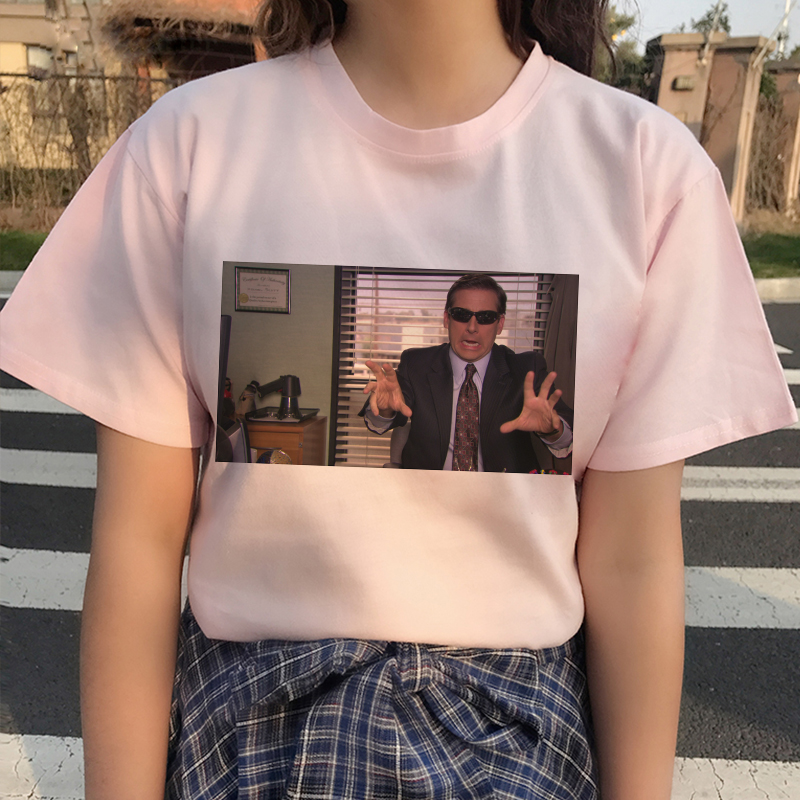 Michael scott divertido impressão gráfica camiseta feminina 2020 nova moda verão coréia tshirt harajuku estético rosa topos feminino t camisa