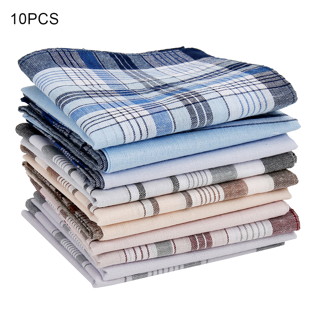10Pcs/lot Square Multicolor Plaid Stripe Men Women Pocket For Wedding Party Business Chest Towel Handkerchiefs Scarves 38*38cm